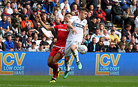 Swansea City&rsquo;s Declan John brings the ball under control while under pressure from Nottingham Forest's Matty Cash<br /> <br /> Photographer Ian Cook/CameraSport<br /> <br /> The EFL Sky Bet Championship - Swansea City v Nottingham Forest - Saturday 15th September 2018 - Liberty Stadium - Swansea<br /> <br /> World Copyright &copy; 2018 CameraSport. All rights reserved. 43 Linden Ave. Countesthorpe. Leicester. England. LE8 5PG - Tel: +44 (0) 116 277 4147 - admin@camerasport.com - www.camerasport.com