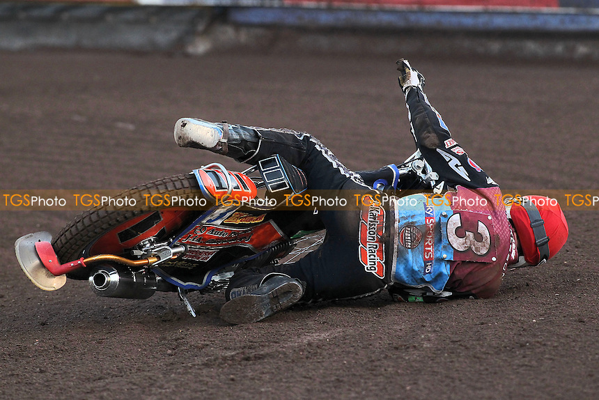 Heat 3: Peter Karlsson crashes out - Lakeside Hammers vs Birmingham Brummies - Sky Sports Elite League Speedway at Arena Essex Raceway, Purfleet - 10/08/12 - MANDATORY CREDIT: Gavin Ellis/TGSPHOTO - Self billing applies where appropriate - 0845 094 6026 - contact@tgsphoto.co.uk - NO UNPAID USE.