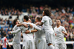 Real Madrid´s Karim Benzema celebrates a goal with his team mates during 2015/16 La Liga match between Real Madrid and Sporting de Gijon at Santiago Bernabeu stadium in Madrid, Spain. January 17, 2015. (ALTERPHOTOS/Victor Blanco)