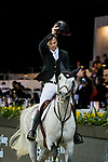 Second placed Jérôme Guery of Belgium riding Garfield de Tiji des Templiers after the Hong Kong Jockey Club Trophy during the Longines Masters of Hong Kong at AsiaWorld-Expo on 09 February 2018, in Hong Kong, Hong Kong. Photo by Ian Walton / Power Sport Images