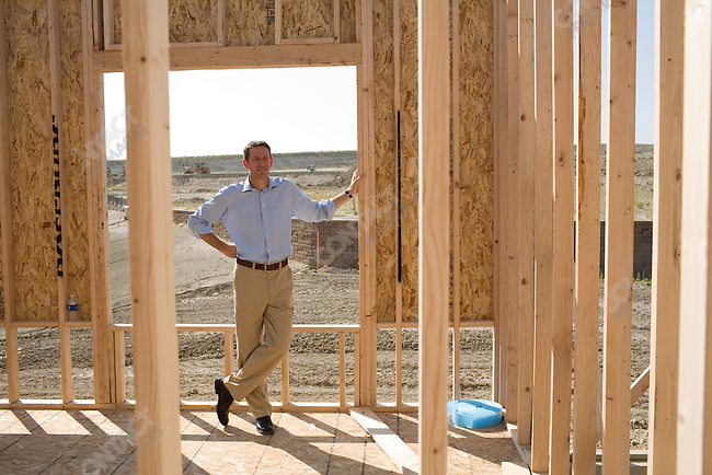 Matt Osborn, Senior Vice President of Home Building at Village Homes of Colorado, at one of Village Homes' projects in the South Shore Community. Aurora, Colorado, July 29, 2007.