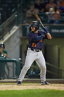 Erik Ostberg (21) of the Bowling Green Hot Rods at bat against the Fort Wayne TinCaps at Parkview Field on August 20, 2019 in Fort Wayne, Indiana. The Hot Rods defeated the TinCaps 6-5. (Brian Westerholt/Four Seam Images)