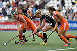 GER - Mannheim, Germany, May 25: During the U16 Girls match between The Netherlands (orange) and Germany (black) during the international witsun tournament on May 25, 2015 at Mannheimer HC in Mannheim, Germany. Final score 1-1 (1-0). (Photo by Dirk Markgraf / www.265-images.com) *** Local caption *** (l-r) Isa van Spronsen #9 of The Netherlands, Sonja Zimmermann #13 of Germany, Emely Vysoudil #10 of Germany, Julie can Dam #19 of The Netherlands