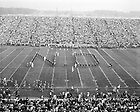"GPHR 45/2958:  Football Game Day - View from the press box of the Marching Band formation of ""ND"" on the field, 1956.  Image from the University of Notre Dame Archives."