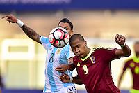 Foxborough, MA - Saturday June 18, 2016: Augusto Fernandez, Salomon Rondon prior to a Copa America Centenario quarterfinal match between Argentina (ARG) and Venezuela (VEN)  at Gillette Stadium.