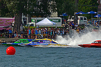 """Brandon Kennedy, GP-25 """"EMS Survior"""" , Martin Rochon, GP-77 """"Coppertone Sport"""" and Mike Monahan, GP-79 """"Bad Influence"""" (Grand Prix Hydroplane(s)<br /> <br /> Régates de Valleyfield<br /> Salaberry Valleyfield, Québec Canada <br /> 10-12 July, 2015<br /> <br /> ©2015, Sam Chambers"""