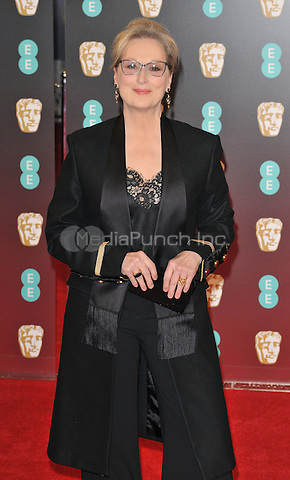 Meryl Streep at the EE British Academy Film Awards (BAFTAs) 2017, Royal Albert Hall, Kensington Gore, London, England, UK, on Sunday 12 February 2017.<br /> CAP/CAN<br /> &copy;CAN/Capital Pictures /MediaPunch ***NORTH AND SOUTH AMERICAS ONLY***