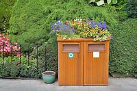 Decorative trash cans at Butchart Gardens, B.C. Canada