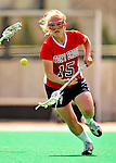 25 April 2009: Stony Brook University Seawolves' defenseman Trish Molfetta, a Sophomore from Carmel, NY, in action against the University of Vermont Catamounts at Moulton Winder Field in Burlington, Vermont. The Lady Cats defeated the visiting Seawolves 19-11 in Vermont's last home game of the 2009 season. Mandatory Photo Credit: Ed Wolfstein Photo
