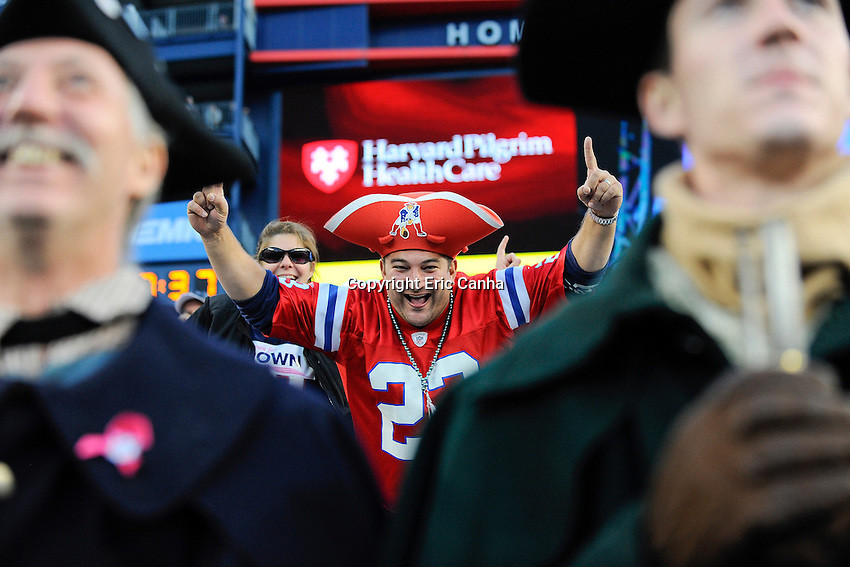 October 21, 2012 A New England Patriots fan during the New England Patriots vs New York Jets game played at Gillette Stadium in Foxborough, Massachusetts.   Eric Canha/CSM