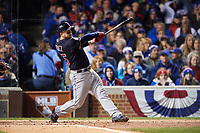 Cleveland Indians Roberto Perez (55) bats in the third inning during Game 5 of the Major League Baseball World Series against the Chicago Cubs on October 30, 2016 at Wrigley Field in Chicago, Illinois.  (Mike Janes/Four Seam Images)