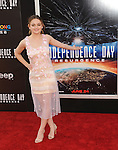 Joey King at the Independence Day Resurgence Premiere held at the TCL Chinese Theatre, Los Angeles CA. June 20, 2016.