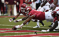 NWA Democrat-Gazette/J.T. WAMPLER Arkansas' defensive lineman Briston Guidry falls on the ball for a touchdown in the first quarter against Mississippi State Saturday Nov. 18, 2017 at Donald W. Reynolds Razorback Stadium in Fayetteville. Mississippi State won 28-21.