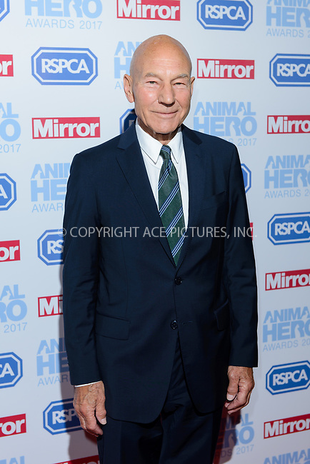 www.acepixs.com<br /> <br /> September 7 2017, London<br /> <br /> Sir Patrick Stewart attending the Animal Hero Awards 2017 on at the Grosvenor Hotel on September 7 2017 in London<br /> <br /> By Line: Famous/ACE Pictures<br /> <br /> <br /> ACE Pictures Inc<br /> Tel: 6467670430<br /> Email: info@acepixs.com<br /> www.acepixs.com
