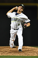 Pitcher Matt Blackham (6) of the Columbia Fireflies delivers a pitch in a game against the Lakewood BlueClaws on Friday, May 5, 2017, at Spirit Communications Park in Columbia, South Carolina. Lakewood won, 12-2. (Tom Priddy/Four Seam Images)
