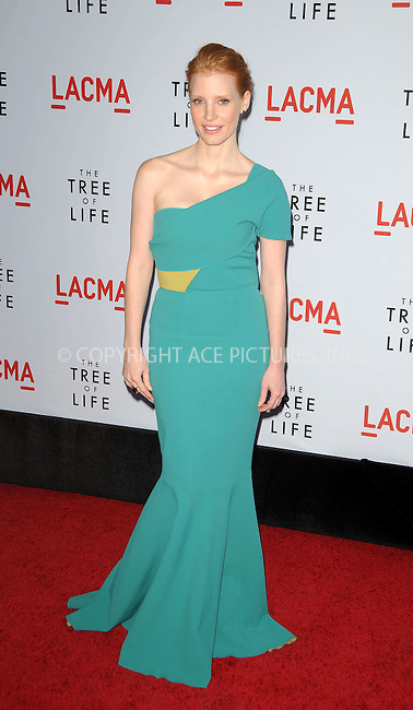 WWW.ACEPIXS.COM . . . . .  ....May 24 2011, Los Angeles....Actress Jessica Chastain arriving at the premiere of  'The Tree of Life' at the Bing Theatre at the Los Angeles County Museum of Art on May 24, 2011 in Los Angeles, California....Please byline: PETER WEST - ACE PICTURES.... *** ***..Ace Pictures, Inc:  ..Philip Vaughan (212) 243-8787 or (646) 679 0430..e-mail: info@acepixs.com..web: http://www.acepixs.com