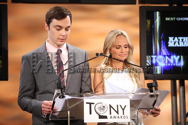 Jim Parsons & Kristin Chenoweth.announcing the 2012 Tony Award Nominations at Lincoln Center on 5/1/2012 in New York City. © Walter McBride / Retna Ltd.