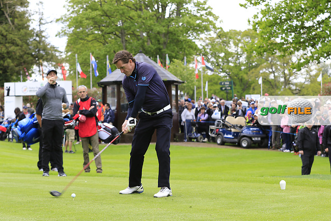 A.P.McCoy tees off the 1st tee during Wednesday's Pro-Am of the 2016 Dubai Duty Free Irish Open hosted by Rory Foundation held at the K Club, Straffan, Co.Kildare, Ireland. 18th May 2016.<br /> Picture: Eoin Clarke | Golffile<br /> <br /> <br /> All photos usage must carry mandatory copyright credit (&copy; Golffile | Eoin Clarke)