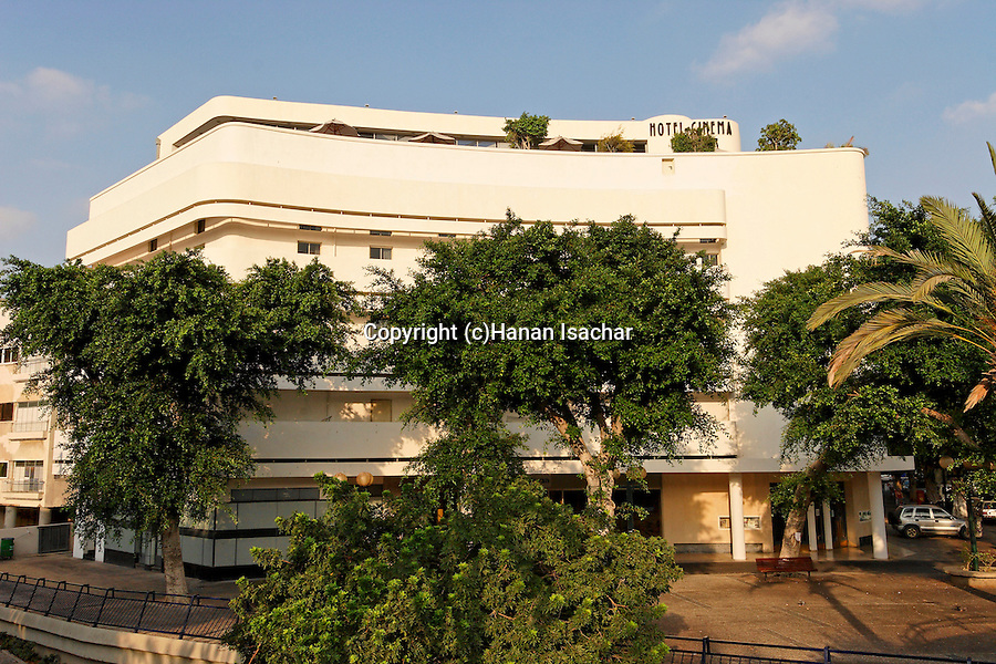 Israel, Tel Aviv. Hotel Cinema, a Bauhaus style building