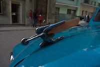 sculpture on oldtimer, american car in Havana, Cuba