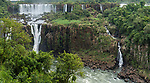 Iguazu Falls National Park in Argentina, as viewed from Brazil.  A UNESCO World Heritage Site.  Pictured  Rivadavia Falls at top left with one of the Three Musketeers Falls or Salto Tres Mosqueteros below.  The smaller lower falls at right is unnamed.