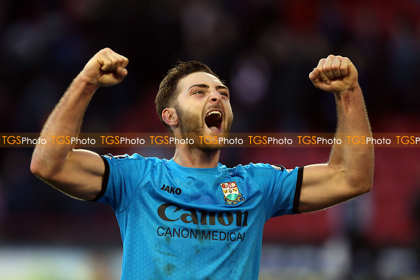Charlee Adams of Barnet celebrates their victory after Sheffield United vs Barnet, Emirates FA Cup Football at Bramall Lane on 6th January 2019