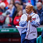 15 April 2018: Washington DC Congressman John Lewis is honored by throwing out the ceremonial first pitch prior to a game between the Washington Nationals and the Colorado Rockies at Nationals Park in Washington, DC. All MLB players and umpires wore Number 42 to commemorate the life of Jackie Robinson and to celebrate Black Heritage Day in pro baseball. The Rockies edged out the Nationals 6-5 to take the final game of their 4-game series. Mandatory Credit: Ed Wolfstein Photo *** RAW (NEF) Image File Available ***