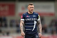 Josh Charnley of Sale Sharks looks on during a break in play. Aviva Premiership match, between Sale Sharks and Bath Rugby on May 6, 2017 at the AJ Bell Stadium in Manchester, England. Photo by: Patrick Khachfe / Onside Images