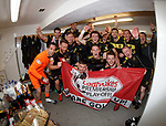 20.05.2018 Partick Thistle v Livingston: Livingston celebrate in the dressing room as they gain promotion