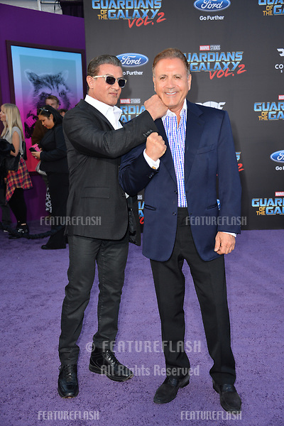 Sylvester Stallone &amp; Frank Stallone at the world premiere for &quot;Guardians of the Galaxy Vol. 2&quot; at the Dolby Theatre, Hollywood. <br /> Los Angeles, USA 19 April  2017<br /> Picture: Paul Smith/Featureflash/SilverHub 0208 004 5359 sales@silverhubmedia.com