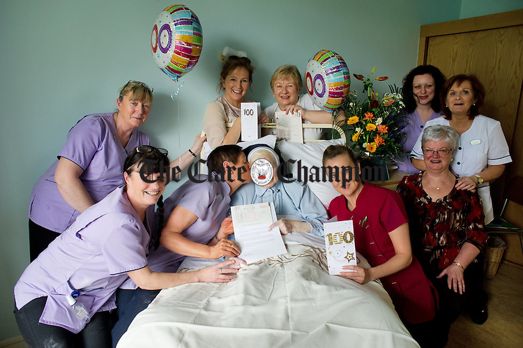 Sr Grace O Brien, originally from Crusheen and a now a resident at  Catherine McAuley House in Limerick, who celebrated her 100th birthday on January 12th pictured with staff members. Photograph by John Kelly.