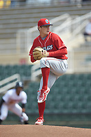 Lakewood BlueClaws starting pitcher Spencer Howard (22) in action against the Kannapolis Intimidators at Kannapolis Intimidators Stadium on April 8, 2018 in Kannapolis, North Carolina.  The Intimidators defeated the BlueClaws 5-1 in game one of a double-header.  (Brian Westerholt/Four Seam Images)
