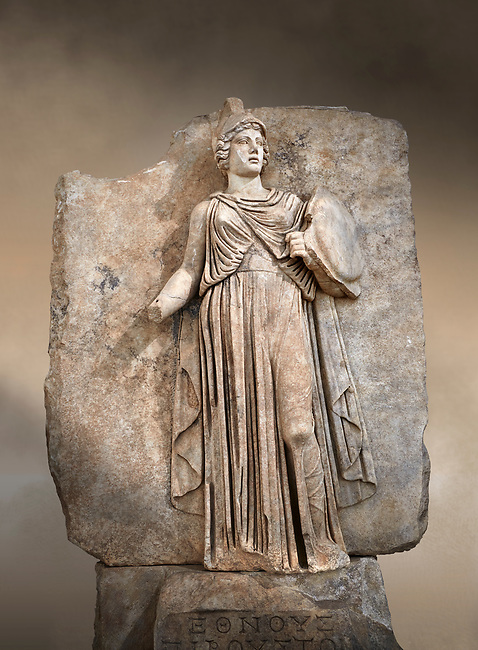 "Roman Sebasteion relief sculpture personifing a Balkan Warrior  Aphrodisias Museum, Aphrodisias, Turkey.  Against an art background.<br /> <br /> The relief figure personifies a Balkan Warrior tribe defeated by Tiberius in AD 6-8 before he became emperor. She wears a classical dress, cloak and helmet and carries a small shield and probably once a spear. A builder's inscription, ""Pirouston"", written above the shield, ensured the relief was put on the right base"