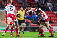Picture by Alex Whitehead/SWpix.com - 11/05/2018 - Rugby League - Ladbrokes Challenge Cup - Leigh Centurions v Salford Red Devils - Leigh Sports Village, Leigh, England - Salford's Greg Johnson is tackled by Leigh's Daniel Mortimer and Bodene Thompson.