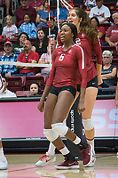 STANFORD, CA - September 9, 2018: Tami Alade, Audriana Fitzmorris at Maples Pavilion. The Stanford Cardinal defeated #1 ranked Minnesota 3-1 in the Big Ten / PAC-12 Challenge.