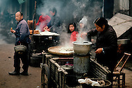 April 15th, 1989, Poyang, Jiangxi Province, China: daily life, morning breakfast in the street.