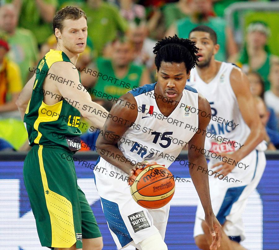 "France`s Mickael Gelabale in action during European basketball championship ""Eurobasket 2013""  final game between France and Lithuania in Stozice Arena in Ljubljana, Slovenia, on September 22. 2013. (credit: Pedja Milosavljevic  / thepedja@gmail.com / +381641260959)"