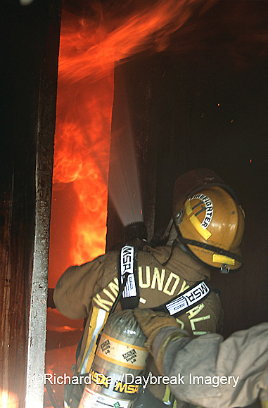 63818-01519 Firefighters fighting fire inside burning house  Kinmundy-Alma Fire District,  Kinmundy IL