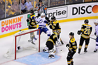 May 2, 2018: Tampa Bay Lightning center Anthony Cirelli (71) is knocked back by Boston Bruins defenseman Kevan Miller (86) during game three of the second round of the National Hockey League's Eastern Conference Stanley Cup playoffs between the Tampa Bay Lightning and the Boston Bruins held at TD Garden, in Boston, Mass. Tampa Bay defeats Boston 4-1. Eric Canha/CSM