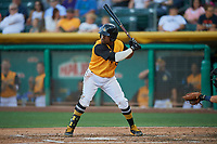 Eric Young Jr. (8) of the Salt Lake Bees bats against the New Orleans Baby Cakes at Smith's Ballpark on June 11, 2018 in Salt Lake City, Utah. New Orleans defeated Salt Lake 6-5.  (Stephen Smith/Four Seam Images)