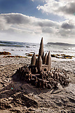 USA, California, San Diego, USA, California, San Diego, sand castle built on the beach in front of Hotel Del Coronado