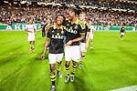 Solna 2015-08-10 Fotboll Allsvenskan AIK - Djurg&aring;rdens IF :  <br /> AIK:s Mohamed Bangura och Dickson Etuhu jublar framf&ouml;r AIK:s supportrar efter matchen mellan AIK och Djurg&aring;rdens IF <br /> (Foto: Kenta J&ouml;nsson) Nyckelord:  AIK Gnaget Friends Arena Allsvenskan Djurg&aring;rden DIF jubel gl&auml;dje lycka glad happy
