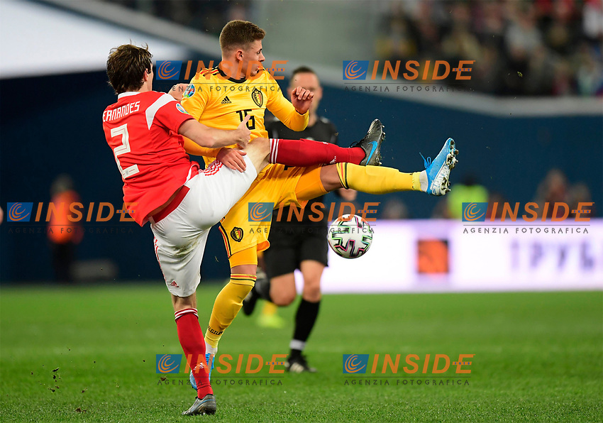 Thorgan Hazard midfielder of Belgium, Mario Figueira Fernandes defender of Russia  <br /> Saint Petersbourg  - Qualification Euro 2020 - 16/11/2019 <br /> Russia - Belgium <br /> Foto Photonews/Panoramic/Insidefoto <br /> ITALY ONLY