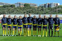 20200307  Lagos , Portugal : team Sweden ( Swedish Lotta Okvist (3) , Swedish Emma Kullberg (5) , Swedish Magdalena Eriksson (6) , Swedish Madelen Janogy (7) , Swedish Lina Hurtig (8) , Swedish goalkeeper Jennifer Falk (12) , Swedish Nathalie Bjorn (14) , Swedish Jessica Samuelsson (15) , Swedish Filippa Angelda (16) , Swedish Mimmi Larsson (20) , Swedish Julia Karlernas (23) ) pictured during the female football game between the national teams of Sweden and Denmark on the second matchday of the Algarve Cup 2020 , a prestigious friendly womensoccer tournament in Portugal , on saturday 7 th March 2020 in Lagos , Portugal . PHOTO SPORTPIX.BE | STIJN AUDOOREN