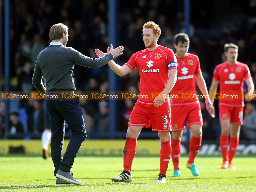 MK Dons Manager, Robbie Neilson and Dean Lewington at the final whistle during Southend United vs MK Dons, Sky Bet EFL League 1 Football at Roots Hall on 17th April 2017
