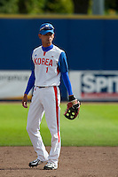 14 September 2009: Second base Myung-Gu Kang of South Korea is seen on defense during the 2009 Baseball World Cup Group F second round match game won 15-5 by South Korea over Great Britain, in the Dutch city of Amsterdan, Netherlands.