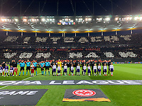 Einlaufkinder der SKG Stockstadt mit den Spielern vor der Choreographie der Fans von Eintracht Frankfurt - 18.04.2019: Eintracht Frankfurt vs. Benfica Lissabon, UEFA Europa League, Viertelfinale, Commerzbank ArenaDISCLAIMER: DFL regulations prohibit any use of photographs as image sequences and/or quasi-video.