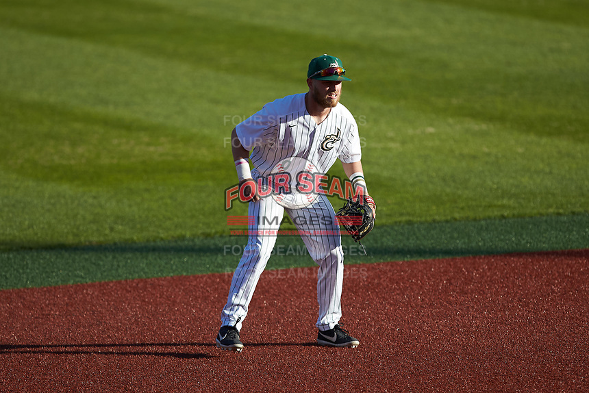 Charlotte 49ers shortstop Tommy Bullock (9) on defense against the Marshall Thundering Herd at Hayes Stadium on March 22, 2019 in Charlotte, North Carolina. The Thundering Herd defeated the 49ers 12-6. (Brian Westerholt/Four Seam Images)