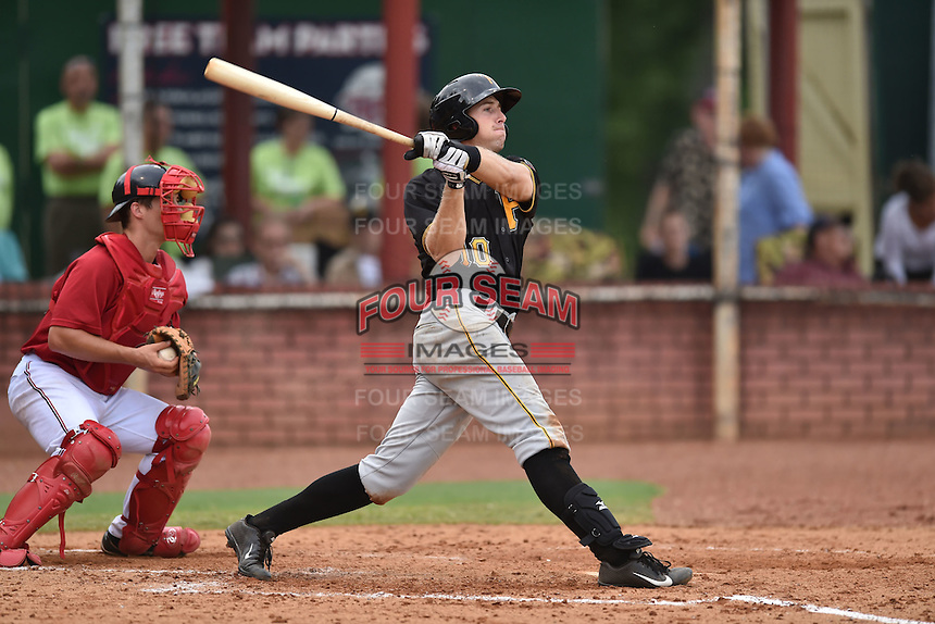 Bristol Pirates first baseman Nathan Thomaszewski #10 swings at a pitch during a game against the Elizabethton Twins at Joe O'Brien Field June 30, 2014 in Elizabethton, Tennessee. The Twins defeated the Pirates 8-5 in game one of a double header. (Tony Farlow/Four Seam Images)