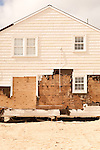 February 27, 2013. Beach Haven Crest, New Jersey. The owner of the house in front of this one refused to sign the easement to allow the city to build a dune to protect homes along the beach. When Sandy came, the house was pushed into this one and completely destroyed, with 4 feet of sand inside. The owner will still not sign the easement to protect the property.. Tracing the path of Hurricane Sandy, which wrecked havoc on the northeastern seaboard from October 25-31, 2012. The storm caused flooding and caused an estimated 60 billion dollars worth of damage to affected areas.
